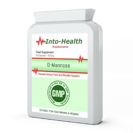 D-Mannose 500mg x 90/180 Capsules; Quality GMP Supplement; Into-Health
